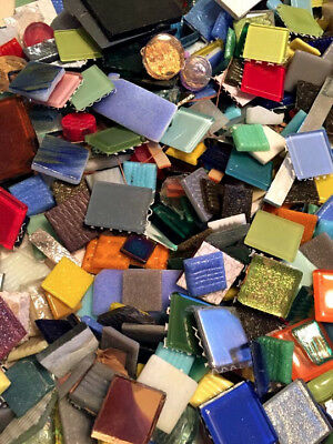 Huge Assorted Lot of Mixed Glass Mosaic Craft Tiles!  20lbs