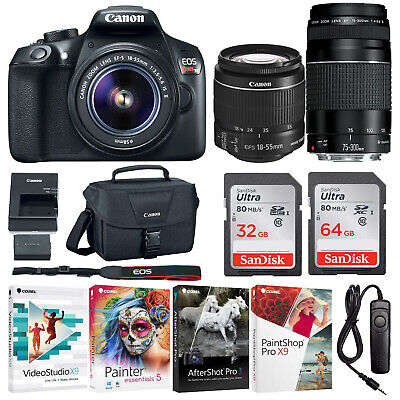 Canon EOS Rebel T6 DSLR Camera with 18-55mm and 75-300mm Lenses and 90GB Bundle