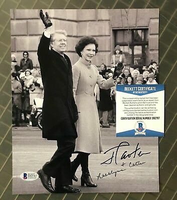 President Jimmy Carter & Rosalynn Carter Signed 8x10 Photo AUTO Beckett BAS COA