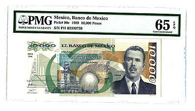 1989 BANCO DE MEXICO 10000 PESOS PMG 65 EPQ BANKNOTE PICK#90c TOP POP ONLY 10