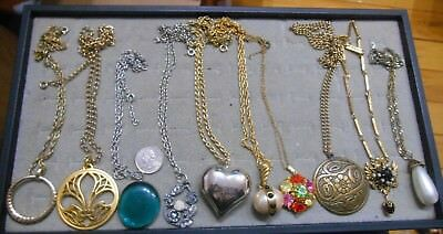 Vintage Lot Of 10 Large Pendant Necklaces,pearl,rhinestone,brass,glass