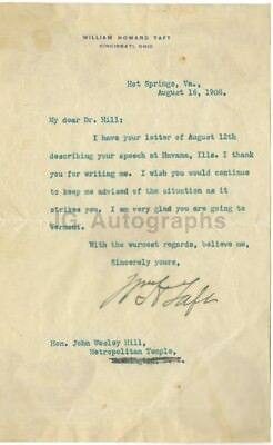 William Howard Taft - 27th U.S. President - Autographed 1908 Letter (TLS)
