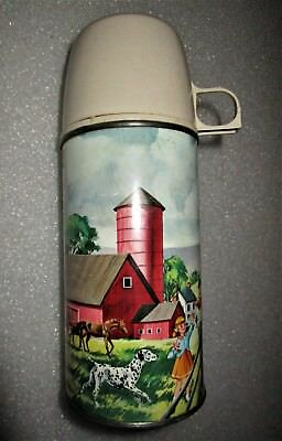 """1962 American Thermos Co Metal Bottle No 2046H Horse Farm Barn Pets Pals 8"""""""