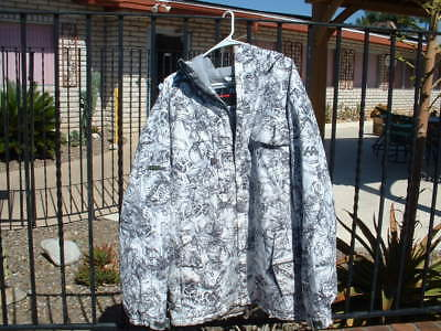 NICE! 686 Mannual Hooded Snowboard Jacket Coat Mens Size LARGE Gray White Images