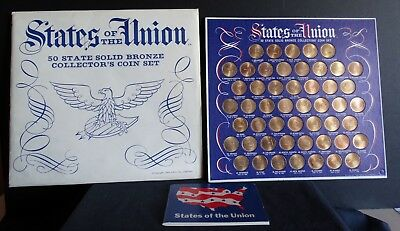 1969 Shell Oil Bronze States of the Union Coin Set w/Booklet & Envelope