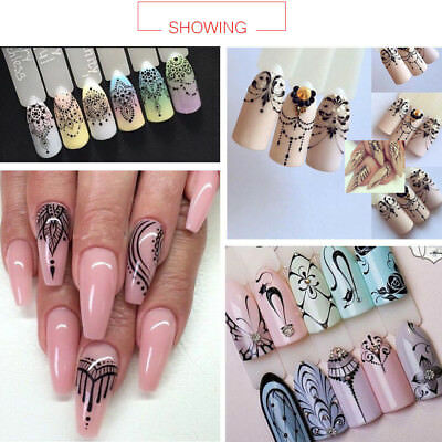 Lace Gel Polish Nail Art Water Decals Stickers Transfers Bows Necklace Jewellery