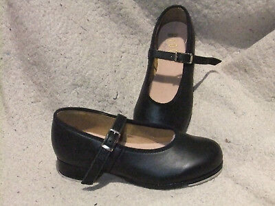 Bloch Mary Jane Tap Shoes Black Leather Girls Size 9.5 Techno Tap