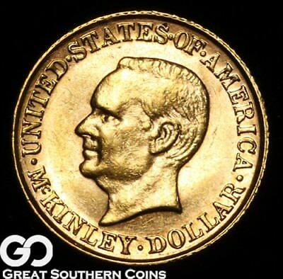 1916 Commemorative Gold Dollar, $1 McKinley, Nice Gem BU++ ** Free Shipping!