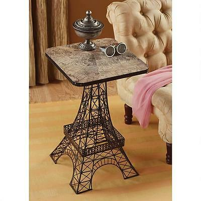 Parisian Eiffel Tower Replica City of Light Metal Map Top Accent Side Table 26""