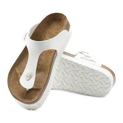 05220368f89c Birkenstock GIZEH Ladies Womens Toe-Post Buckle Up Summer Sandals Marble  White