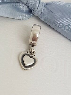 Authentic Pandora Sterling Silver Flat Heart Dangle Charm  790373