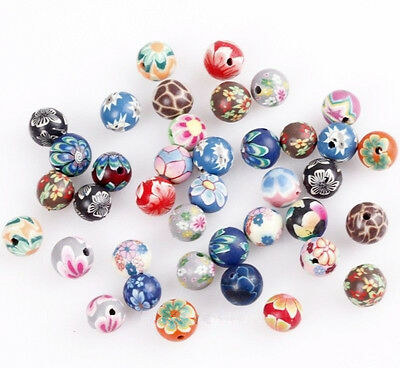 40pcs 10mm Polymer Clay Fimo Flower Round Loose Spacer Beads Jewelry DIY