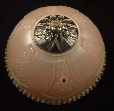 """Antique Three (3) Chain Ceiling Light Fixture Pink Glass Shade 10 1/4"""" D"""