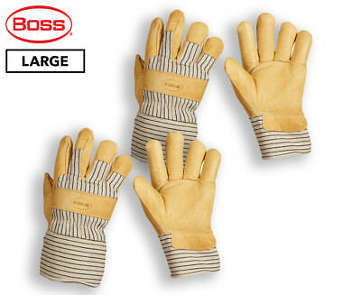 Boss Large Insulated Pigskin Leather Palm Work Gloves - Yellow/Cream