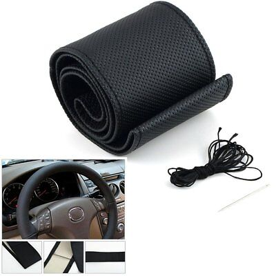 Car Auto Steering Wheel Cover DIY Steering-wheel With Needles&Thread PU Leather