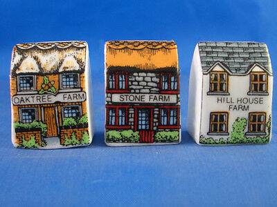 Fine China Thimbles - Set Of Three Miniature House Style -  Farms