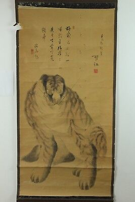 "Japanese Edo Hanging Scroll""fierce Tiger""hand Painted W/signed Feb220"