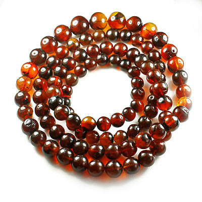 71.23g 100% Natural Mexican Blood Red Amber Bead Bracelet Necklace CSFb609