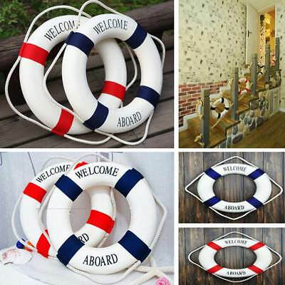 Welcome Aboard Nautical Wall Hanging Ship Boat Ring Life Buoy Cafe DIY Decor