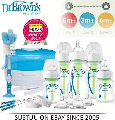 Dr. Brown's Options Deluxe Newborn Gift Set Kit│BPA Free│0-6m Level 1/2/3│AC056