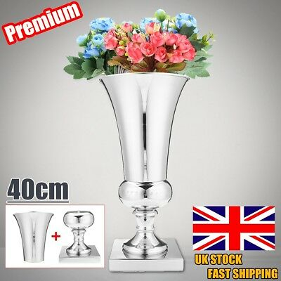 40cm Large Stunning Luxury Iron Silver Flower Vase Urn Wedding Table