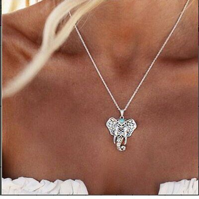 Boho Turquoise Elephant Necklaces Pendant Ethnic Long Sweater Chain Necklace