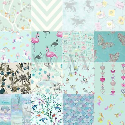 Kids Bedroom Teal Wallpaper - Girls Nursery Decor Unicorn Mermaid