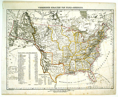 1844 United States & Republic Of Texas, Flemming Antique Hand-Colored Map