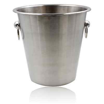 Brushed Stainless Steel Ice Bucket Wine Champagne Cooler Silver Ring Bar Party