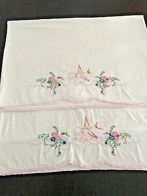 Fabulous Vintage Pair of Hand Embroidered Cotton Pillowcases Pink Hummingbird