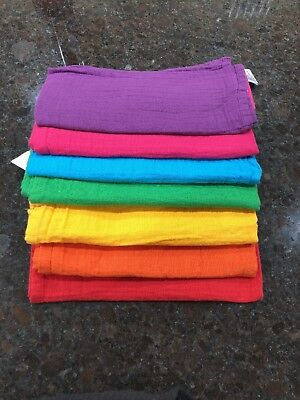 Faye And Lou 7 Cotton Rainbow Muslin squares 60 X 60 Cm