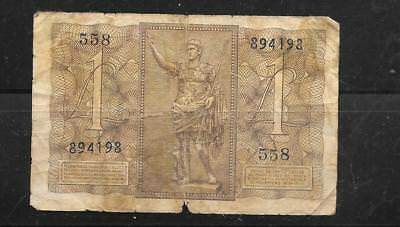 Italy #26 1939  Lire  Good Circ  Vintage Old Wwii Banknote Paper Money Currency
