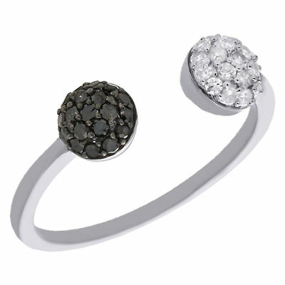 10K White Gold Black Diamond Domed Open Top Ladies Right Hand Ring 0.33 Ct.
