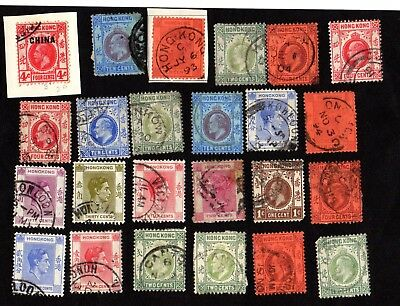 Stamps ~ HONG KONG Postmarks Inc. CHINA ~ Early QUEEN VICTORIA & Kings