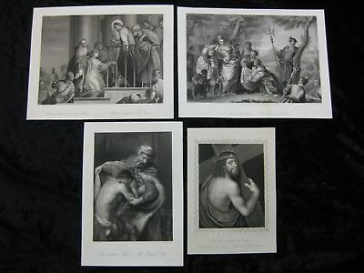Religion Christ Moses etc, 4 Stahlstiche steel engravings ca. 1870