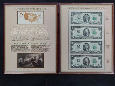 The Complete Collection of 1976 Two-Dollar Bills (4 Single Notes) PCS Booklet