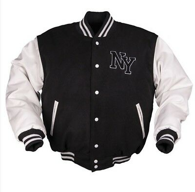 Ny New York Baseball Us Sports Varsity Jacket Jacke M.patch Schwarz/weiss
