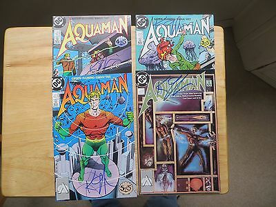 1989 Vintage Dc Comics Aquaman 4 Issue Set Signed By Keith Giffen, With Poa