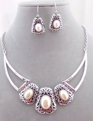 Filigree Synthetic Pearl Necklace Set Silver White Fashion Jewelry NEW