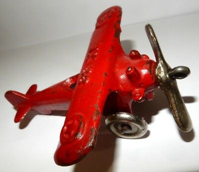 Vintage Cast Iron Toy HUBLEY Airplane Red Version , All Original,  Paint good