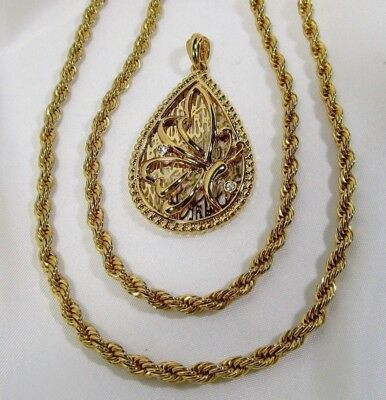 """Vtg NAPIER G/P 36"""" x 4mm Gold-Tone Rope Chain MINT With FREE BUTTERFLY PENDANT"""