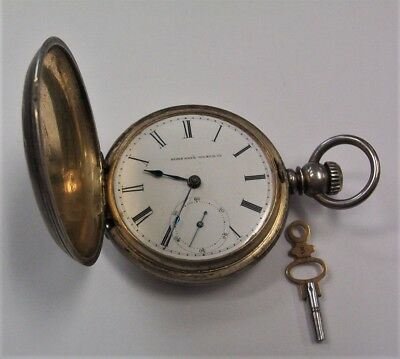 1881 Elgin National 18 sz 7 jewel key wind 90% Silver Hunting Case Pocket Watch