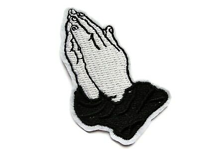 Black White Praying Hands Christian Embroidered Iron On Patch 2.25 Inches