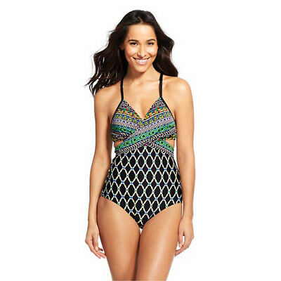 New CLEAN WATER XL 1 Piece swimsuit cutout monokini strappy multi-colors tribal