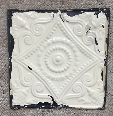 1890's 12 x 12 Antique Tin Ceiling Tile Ivory Metal Reclaimed Anniversary 136-18