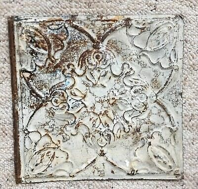 1890's 12 x 12 Antique Tin Ceiling Tile Gray Metal Reclaimed Anniversary 139-18