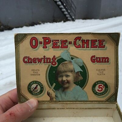 """VINTAGE RARE CANADIAN c.1930 """"O-PEE-CHEE"""" SPEARMINT CHEWING GUM GRAPHIC BOX"""