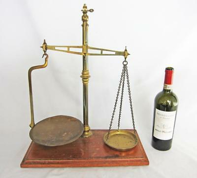 SUPERB SET OF LARGE ANTIQUE BRASS SHOP SCALES by W T AVERY on MAHOGANY BASE 1880