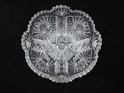"Stunning Large Antique ABP Cut Glass Bowl Beautifully Cut 9"" Diameter 4"" Tall"