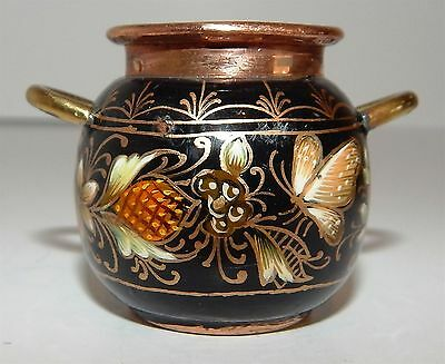 Delightful Miniature Hand Crafted / Hand Painted  Copper Pitcher From Mexico